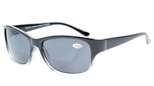 Eyekepper Bi-Focal Sonne Leser modische Bifokale Sonnenbrillen Schwarz Klar/Grau Linsen +1.50
