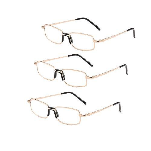 Metallrahmen Lesebrille Vintage Spring Scharniere Computer Brille Retro Brille Presbyopie Brillen Anti Fatigue Vintage Schwarz Leichte Komfortabel,2.5