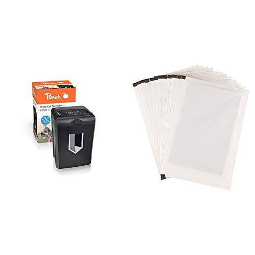 Peach PS500-70 Partikelschnitt Aktenvernichter, 16 Blatt, 18 Liter / 200 DIN A4, 5 x 32 mm Partikel (P-4), Papier und Kreditkarten & AmazonBasics - Schmiermittelblätter für Aktenvernichter, 12er-Pack (Amazon Basic 12 Blatt Schredder)