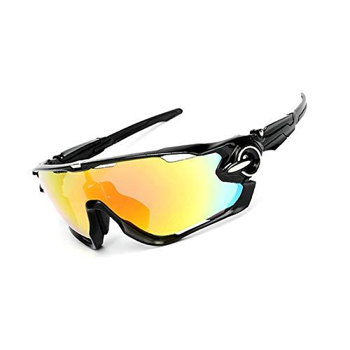 Aeici Sportbrille PC Sonnenbrille Sport Polarisiert Herren Fahrradbrille Winddicht Schwarzer Weißer Nagel