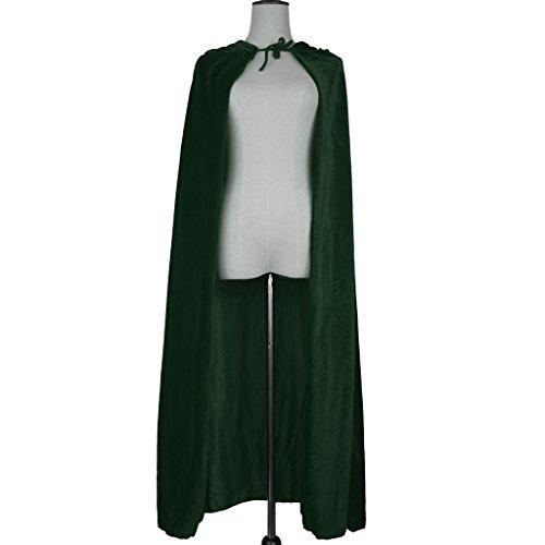 (MagiDeal Erwachsene Kinder Halloween Hexe Umhang Samt Karneval Fasching Zauberer Kostüm Cape mit Kapuze - Grün)