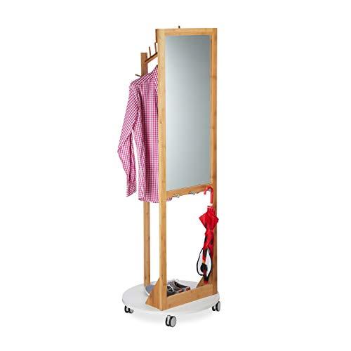 Relaxdays Rollgarderobe mit Spiegel, 360° drehbare Rollen, Haken, natürliche Optik, Bambus, H x D: 173 x 60cm, natur