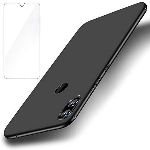Capa Garegce Huawei P Smart 2019 [Filme de Vidro Livre Temperado] TPU Macio Silicone Fino, Capa Protetora AntiGraph para Huawei P Smart 2019 - Preto