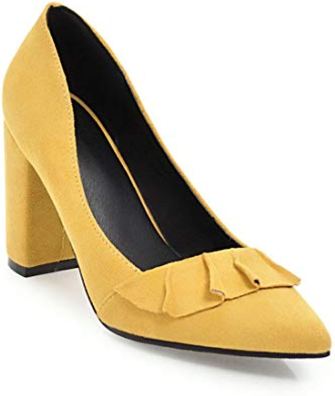 SERAPH 758-12 Femmes Suède Chaussures De Cour Cour Cour Volant Pointue Bloc D'orteil Talons Hauts PompesB07HCXFMC8Parent 78010e