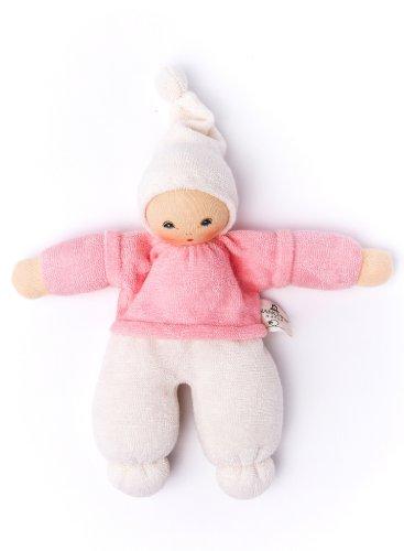 Nanchen Püppchen Zausel aus Bio-Baumwolle mit einer Füllung aus Bio-Schurwolle, Rosa (Rosa Affe Stofftier)