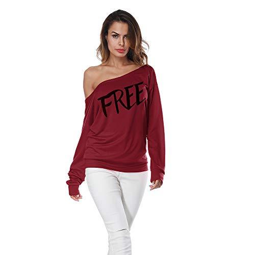 TianWlio Hoodie Pullover Damen Sweatshirt Langarmshirt Bluse Kapuzenpullover Frauen Langer Ärmel Aus Schulter Drucken Shirt T-Shirt Beiläufige Bluse Lose Tops