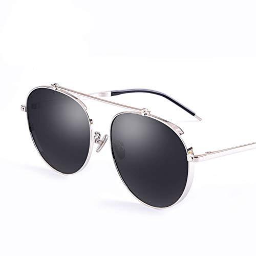 Mode transparente Brille Männlich/weiblich Neue Sonnenbrille Persönlichkeit rundes Gesicht Retro-Brille Brille (Color : B)