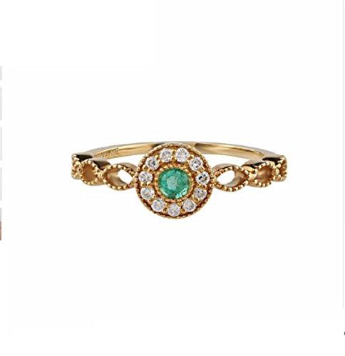 Gowe 0,14ct Runde Form natürlichen Smaragd Halo Diamant Akzente Art-Deco Vintage 18K Gelb Gold Verlobungsring (Verlobungsring Akzent)