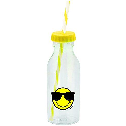 Smiley Emoticon Sonnenbrille Flasche mit Strohhalm 55cl-gelb