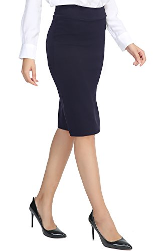 Damen Midi Rock Stretch Figurbetont Business Bleistift Röcke (XL, navy blau)