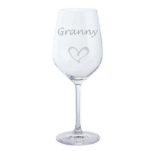 Grand verre à vin rouge avec cœur Dartington pour fête des mères