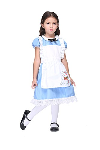 Alice Im Wonderland Mädchen Kostüm Apron dress Halloween Cosplay Festival Party Karneval Lolita Kleider Outfit Maid Magd Kartenspiel mit (Kostüm Madness Alice Returns Cosplay)