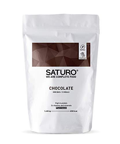 Saturo, Schoko Eiweißpulver, bis zu 32 Mahlzeiten, Vegan, Laktosefrei, Ideal als Protein Shake oder zum Abnehmen, Meal Prep Alternative mit Langanhaltender Sättigung ()