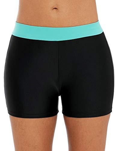 Anwell Damen Board Shorts Mittlere Taille Swim Bottom Sport Boyshorts schwarz blau XL (Shorts Swim Xl Frauen)