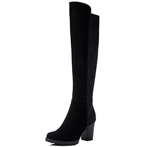 Block Heel Over Knee Tall Boots Black Suede Style Sz 6 (Black Suede Boot Tall)