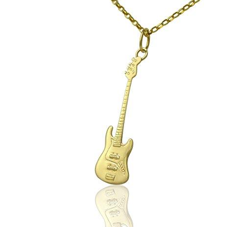 Massiccio 9ct oro Fender Jazz Bass Guitar Ciondolo e Collana Regalo Per chitarristi lettori di Bassi e musicisti, misura A scelta Nome Colore Opzioni/Catena di '', Large 50mm with 20 inch Necklace