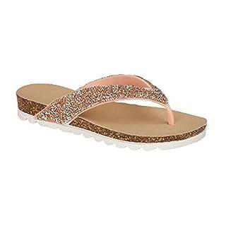 Women's Ladies Glitter Toe Post Flip Flop Beach Sandals Size 3 4 5 6 7 8 (5 UK, Rose Gold)