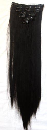 PRETTYSHOP XXL 50cm 8 teiliges SET Clip In Extensions Haarverlängerung Haarteil hitzebeständig glatt schwarz 1 CES100
