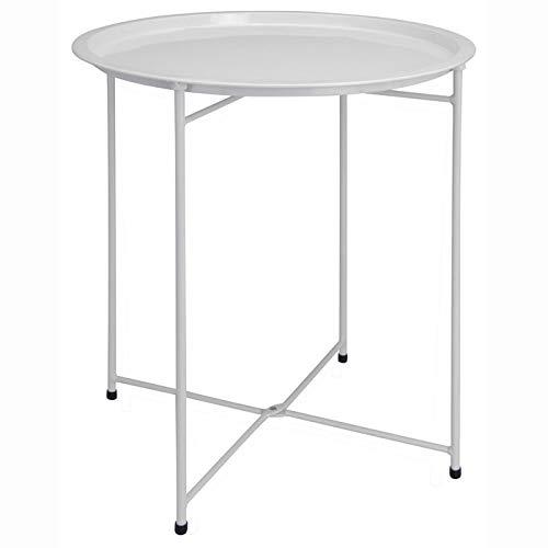 Beistelltisch pulverbeschichtet, Metalltisch, Klapptisch Tisch klappbar weiß Campingtisch Metall - Weiße Outdoor-beistelltisch
