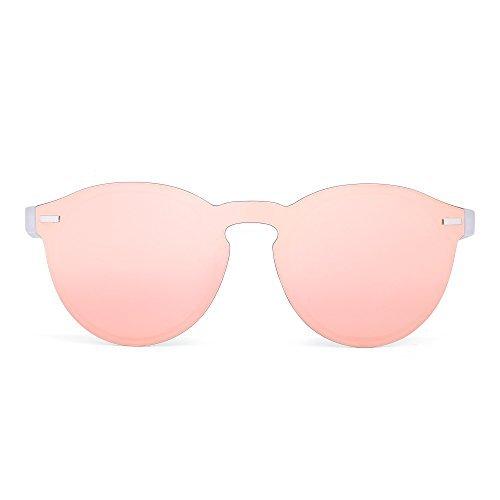 JIM HALO Polarisiert Randlos Sonnenbrille Reflektierend Ein Stück Runde Gespiegelte Brillen Zum Damen Herren(Matt transparent/rosa)