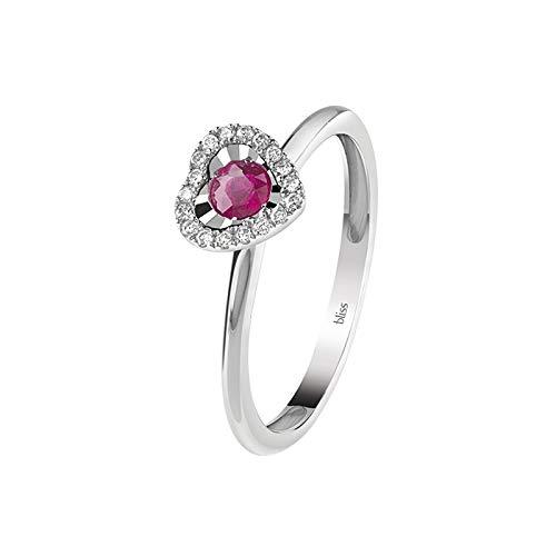 Bliss anello donna misura 13 cuore con diamanti e rubino 20082476