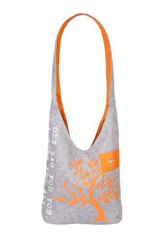 Lässig Green Label Shopper Einkaufsshopper Einkaufstasche Umhängetasche zum Einkaufen/Sport/Freizeit, Black mélange ebony melange-orange