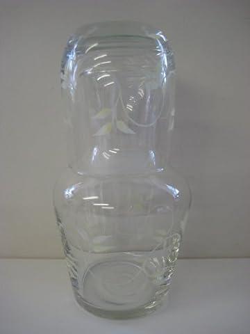 Hand Painted Glassware Cream Leaves Design - Bedside Carafe