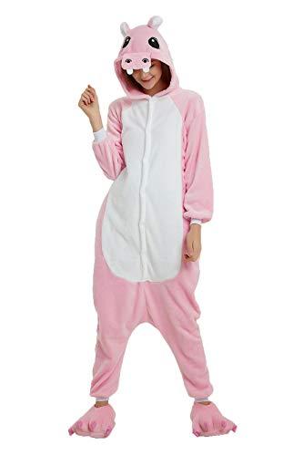 heekpek Jumpsuit Tier Cartoon Fasching Karneval Schlafanzug Erwachsene Unise Pyjamas Sleepsuit Pyjamas Kostüm, Hai, Flusspferd, Drache, Wolf, Kuh (Rosa Nilpferd, S:Geeignete Höhe 150-158cm) (Rosa Drachen Kostüm)