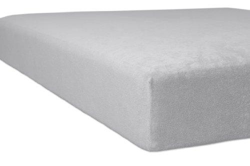 Kneer 1001209 Flausch-Frottee Spannbetttuch Qualität 10, Größe 120/200-130/200 cm, Platin