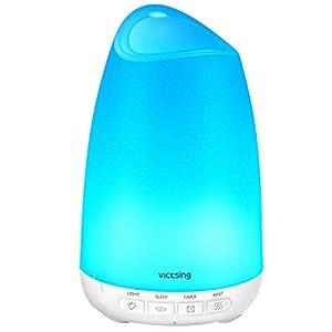 VicTsing 150ml Difusor de Aromas, Ultra Silencioso (21dB) Humidificador Aceites Esenciales, BPA-Free Difusor Aceites Esenciales, Difusor Aceites Esenciales Ultrasonico con LED de 8 Colores – Blanco