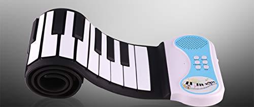 RROWER Elektrisches Roll-Up-Klavier, Portable Folable 49 Keys Flexible Soft Silicone Electronic Music Keyboard Piano, Batterie mit Lautsprecherer,Blue