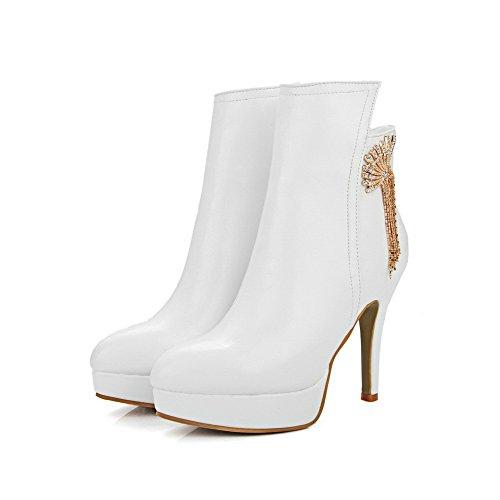 AgooLar Damen Reißverschluss Hoher Absatz Niedrig-Spitze Stiefel mit Metallisch Weiß