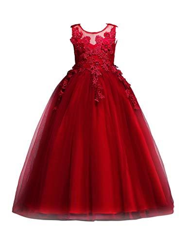en Prinzessin Kleider - Mädchen Ärmellos Langen Abschnitt Blumen Brautjungfer Party Prinzessin Prom Formale Hochzeit Taufkleid 5-16 Jahre ()
