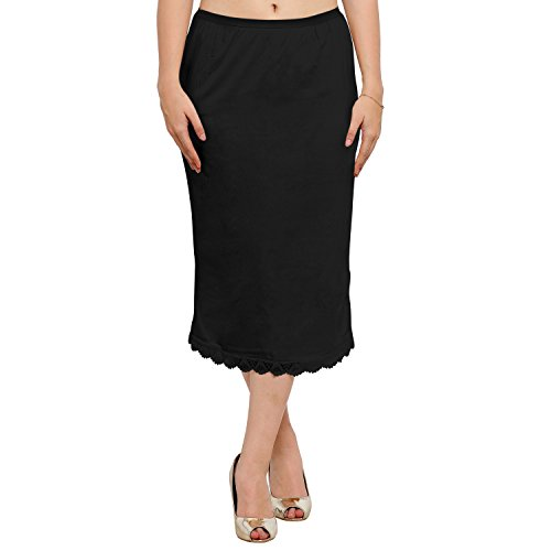 Ziya Pure Cotton Skirt Slip With Side-slit (Black, Medium)  available at amazon for Rs.399