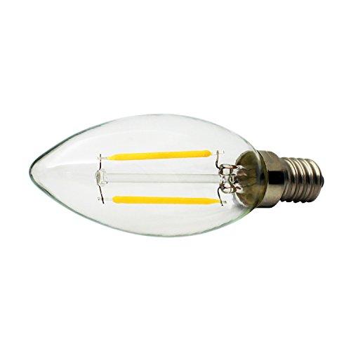 10 unidades E14 2W C35 Retro LED Filament Vela Bombillas Edison Vintage Estilo, No Regulable, Blanca Cálida 2700K, 150lm, 15W incandescente de repuesto, AC220-240V