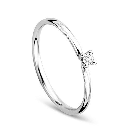 Orovi, anello di fidanzamento da donna, solitario, in oro bianco da 9carati (375) con diamanti da 0,04 carati