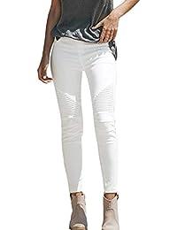 OYSOHE Hohe Taille Jeans Damen Skinny Stretch Hosen Mode Streifen Bleistift-Hosen Weiß