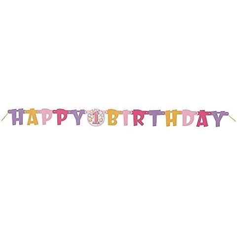 Bandereole corta primero Estilo cumpleaños rosada