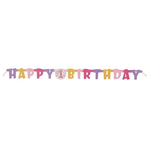 Unique Party 23906 - Festone di Compleanno Happy 1st Birthday Palloncini Rosa