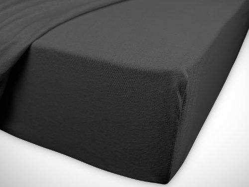 klassisches Jersey Spannbetttuch - erhältlich in 22 modernen Farben und 6 verschiedenen Größen - 100% Baumwolle, 70 x 140 cm, anthrazit - 7