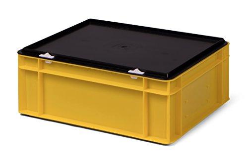 /Lagerbehälter, gelb, mit schwarzem Verschlußdeckel, 400x300x156 mm (LxBxH), stabile Industrie-Ausführung! ()