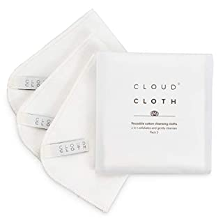 CloudCloth® Reusable Face Cleansing Cloths. Dual Action, soothing one side, exfoliating muslin the other. 100% Cotton Made in the UK (3 PACK)