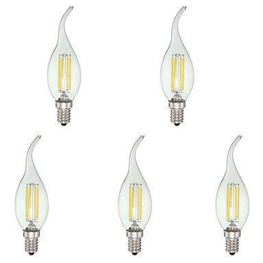 FDH 4W E12 Luces de velas LED C35 4 COB 380 lm blanco fresco regulable 110-240 V CA 5 PC