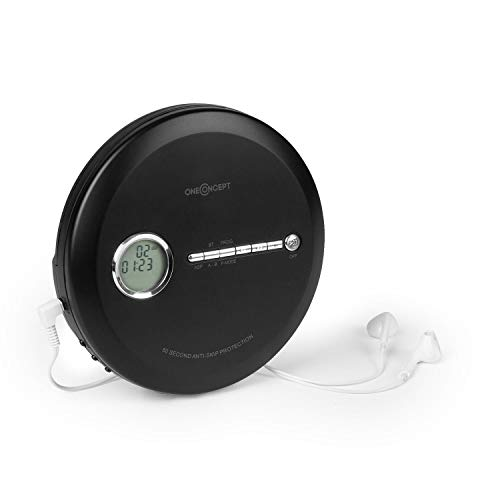 OneConcept CDC 100MP3 - Discman, Disc-Player, CD-Player, USB-Anschluß, Bassverstärkung, Anti-Schock-System, LCD-Anzeige, Formate: CD, CD-R, CD-RW und MP3-CD, In-Ear-Kopfhörer, schwarz