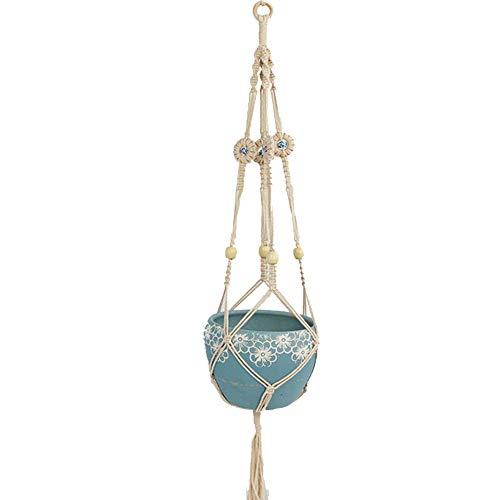 RUNI MO Blumentopf-Halter, hängende Seil handgewebte Pflanzen hängenden Korb Net Bag Retro-Makramee Pflanzen Kleiderbügel für Wohnkultur (D, OneSize) - Makramee-pot-kleiderbügel