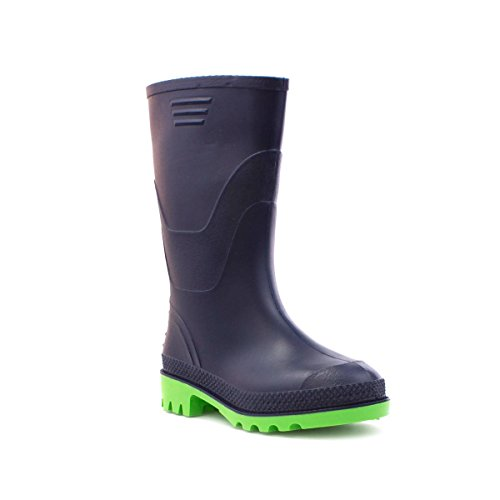zone-kids-wellington-boots-in-navy-and-green-size-2-multicolour