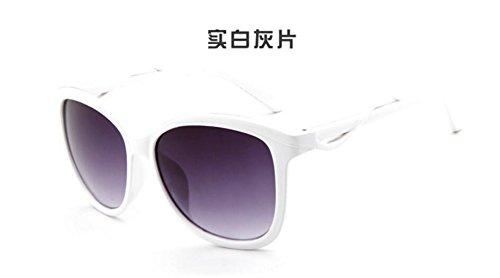 Sucastle Mode Farbe Sonnenbrille Damen Sonnenbrille Europa und die USA Wind Trend Sonnenbrille PC AC Echter weißer Schatten QWERT 145*56*57*17*126mm (Handtasche Usa Echte Leder)
