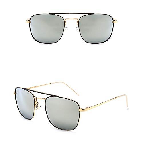 Sonnenbrillen Klassische Fashion Square Drive-Sonnenbrille for Herren/Damen, 100% schädliche UVA-Strahlung, 100% UV400-Schutzglas (Farbe : Gold/Silver)
