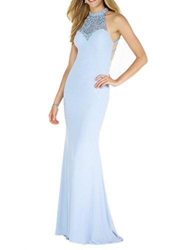 La_Marie Braut Blau Elegant Perlen Schmaler Schnitt Abendkleider Ballkleider Brautmutterkleider Lang Etuikleider Himmel Blau