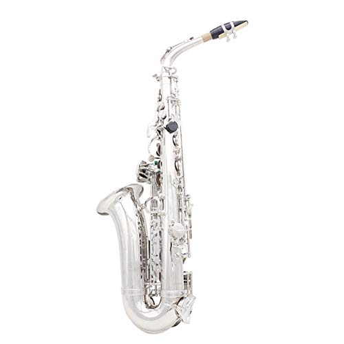 AYYNAM Altsaxophon Professionell E Flat Alto Saxophone Sax Messing Versilbert Weiße Muschelknopf Holzblasinstrument Mit Strap Handschuhe Reinigung Pinsel Tuch